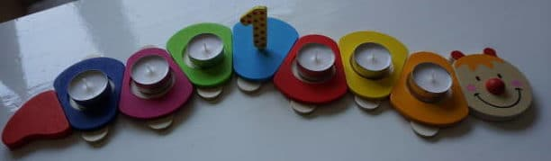 Kerzenraupe für den Babygeburtstag von breifreibaby