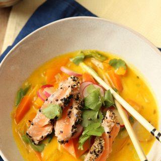 Kokossuppe mit Lachs - Rezepte für die Familienküche