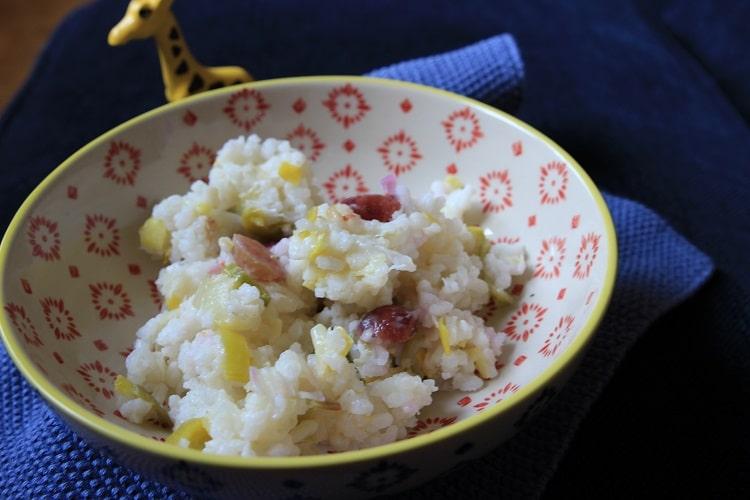 breifrei Risotto mit Lauch und Trauben