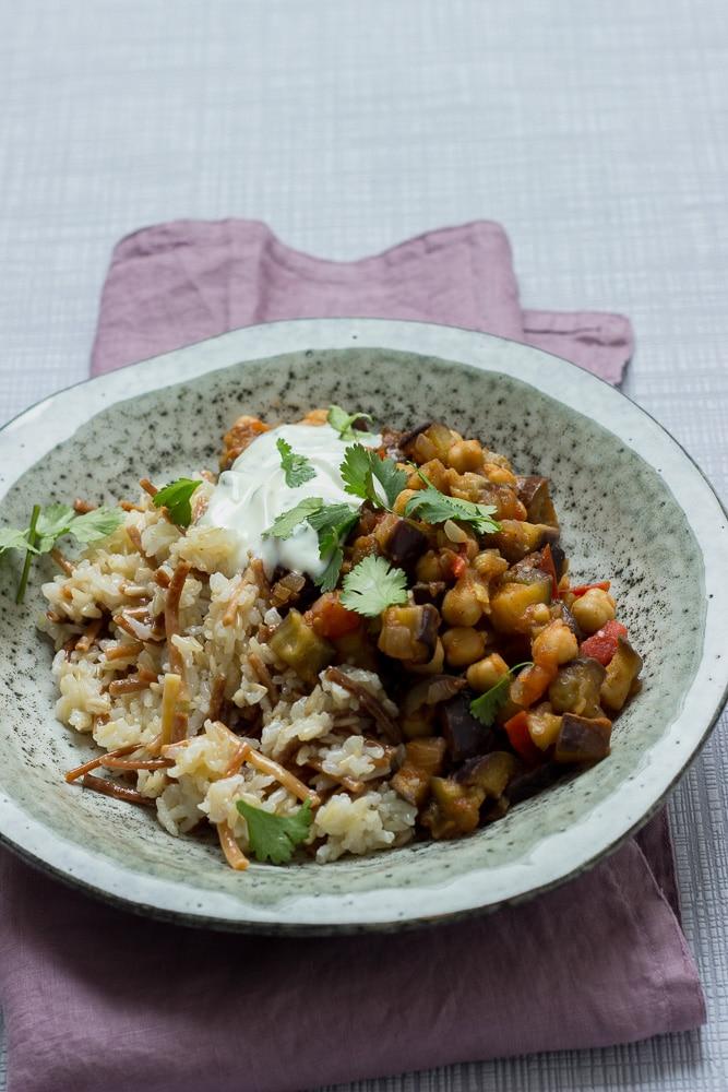 libanesischer Reis mit Auberginen-Gemüse und Baharat von breifreibaby