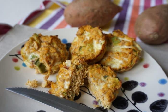 herzhafte lowcarb Muffins mit Süßkartoffeln und Thunfisch
