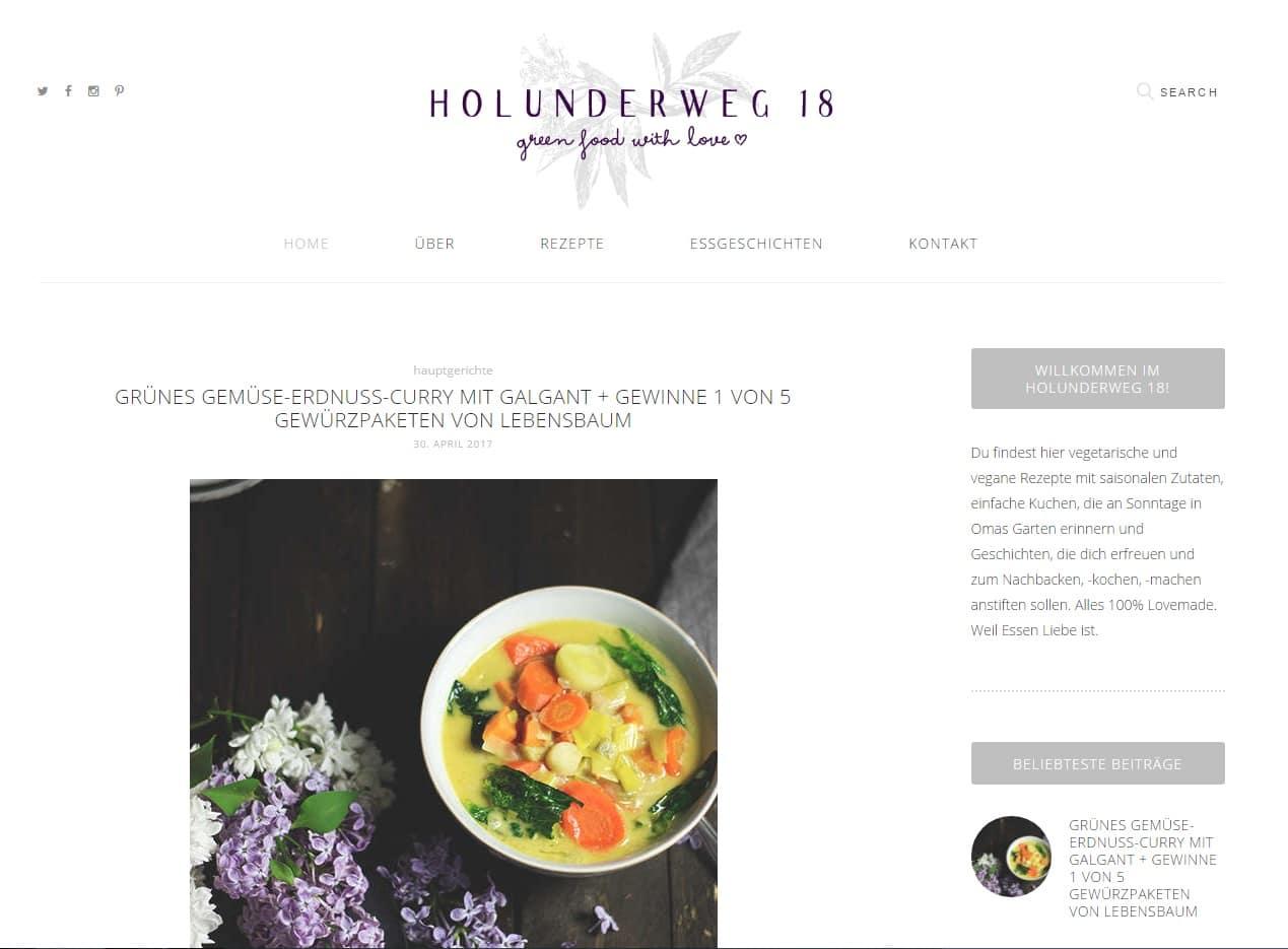 Wir stellen den Blog Holunderweg 18 in den Freitagslieblingen vor