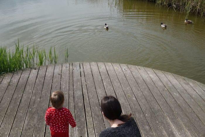 Mama und Kind am See bei den Enten