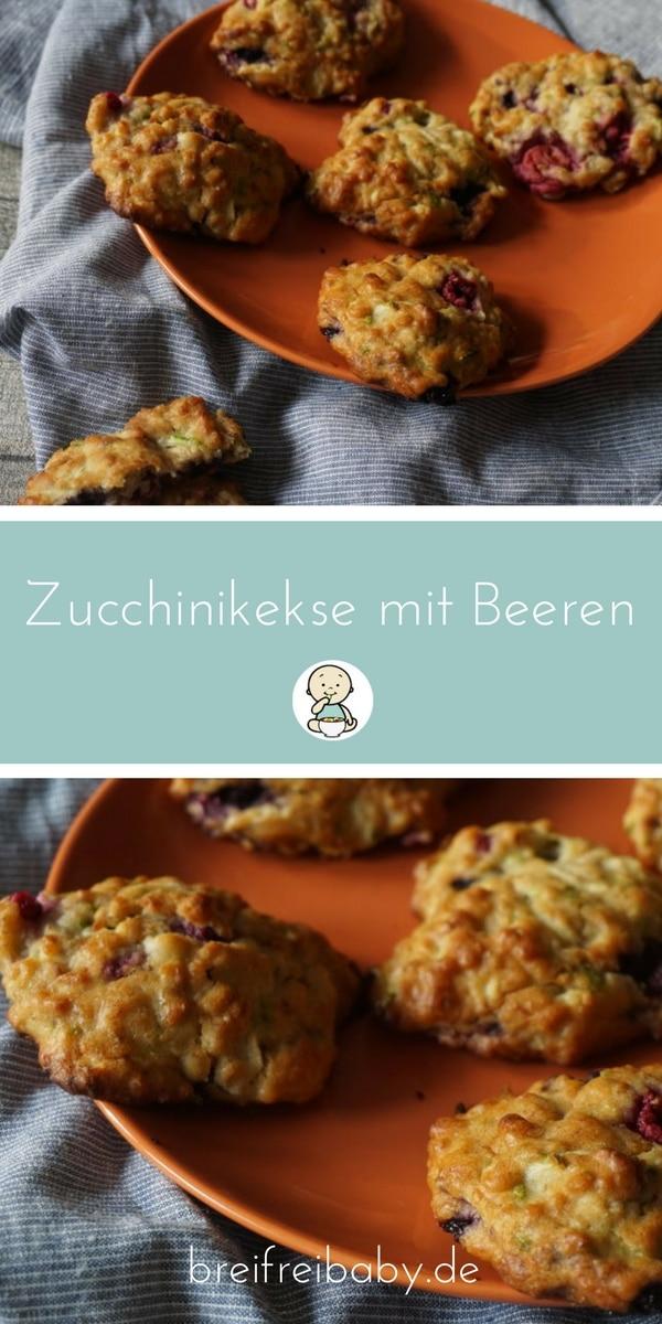 BLW Frühstück mit gesundem Zucchini Beeren Keks ohne Zucker