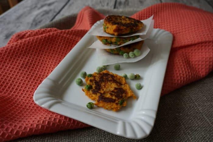 Bratlinge mit Süßkartoffel und Erbsen - vegertarisch und schnell