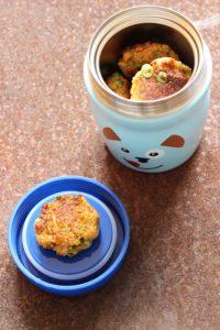 Thermosbecher von Alfi mit leckeren breifrei Couscousbratlingen - baby-led weaning geeignet