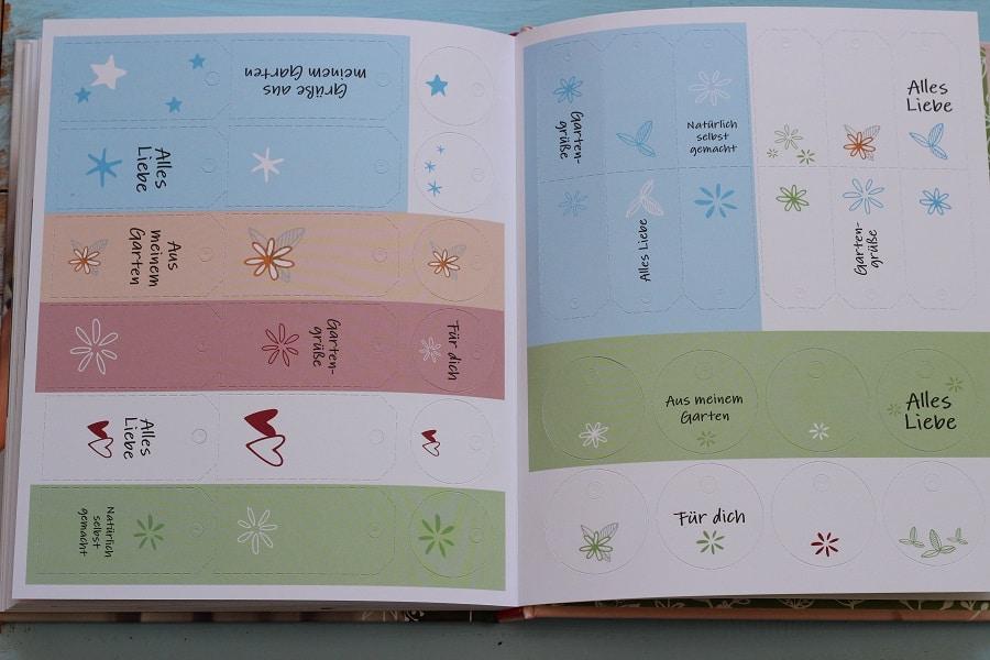 Etiketten für Selbstgemachtes aus dem Garten - zum Heraustrennen aus dem Buch Schönes aus dem Garten mit Liebe verschenken