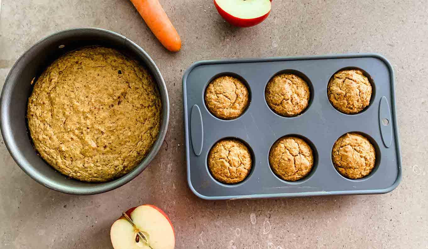 gesunde Muffins für Babys und Kleinkinder mit Möhren, Apfel und Nüssen
