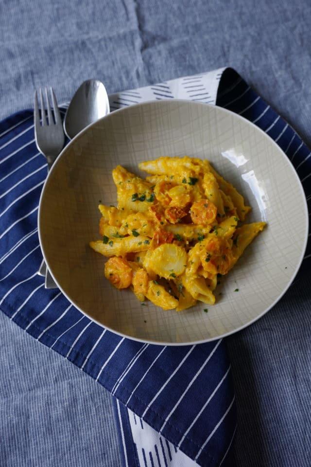 vegetarische One Pot Pasta mit Kürbis und Kokosmilch