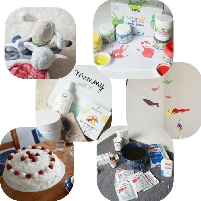Collage mit Schnuffeltüchern, Fingerfarbe, Mbile für Baby, Raffaellotorte Mommy Box und Homöopathie in der Schwangerschaft