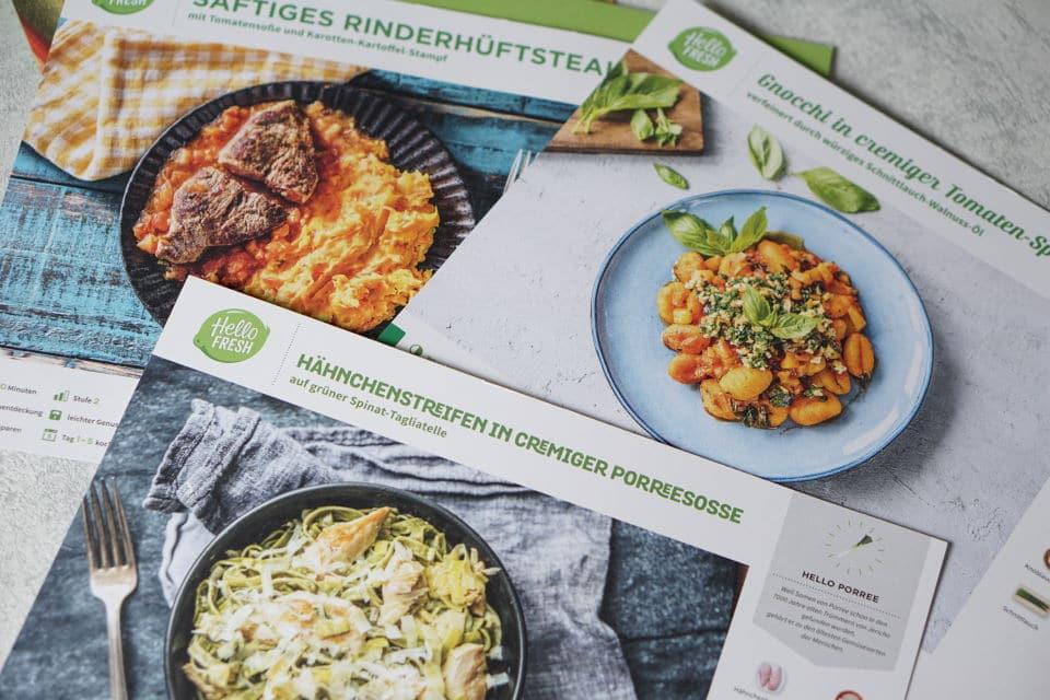 HelloFresh Bix Rezepte und Rezeptkarten - Kochbox mit veganen und vegetarischen Gerichten und Fisch und Fleisch