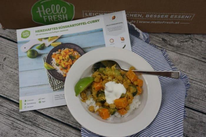 Curry mit Kichererbsen aus der HelloFresh Box für gesunde Rezepte mit Gemüse