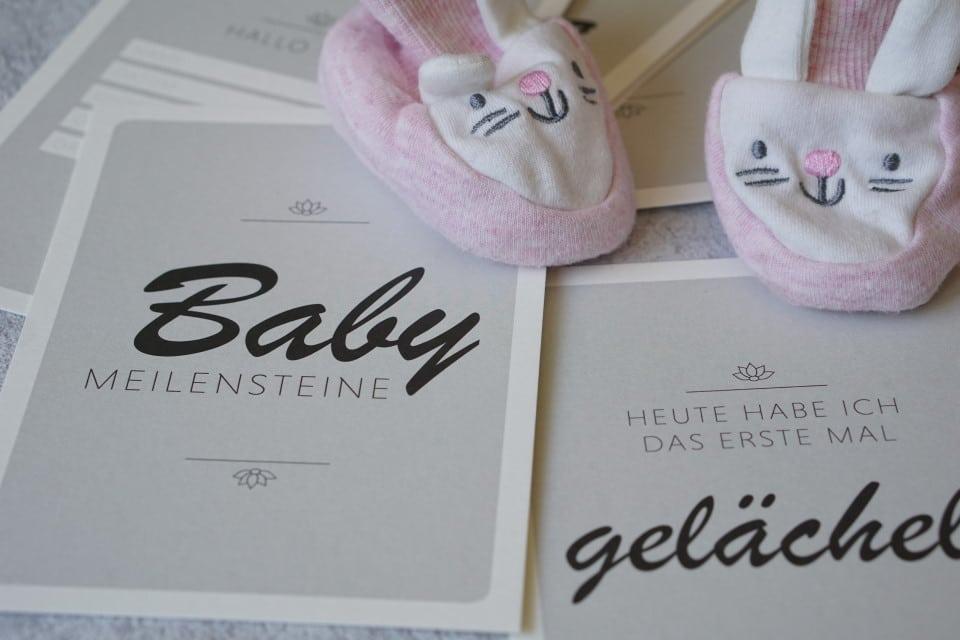 Baby Meilensteinkarten als tolles Geschenk zur Geburt für das Baby