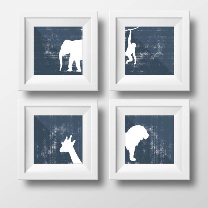 Milestonecards und tolle Drucke für Kinder und zur Wandgestaltung im Kinderzimmer von Typoteria mit Giraffe, Löwe, Affe und Elefant