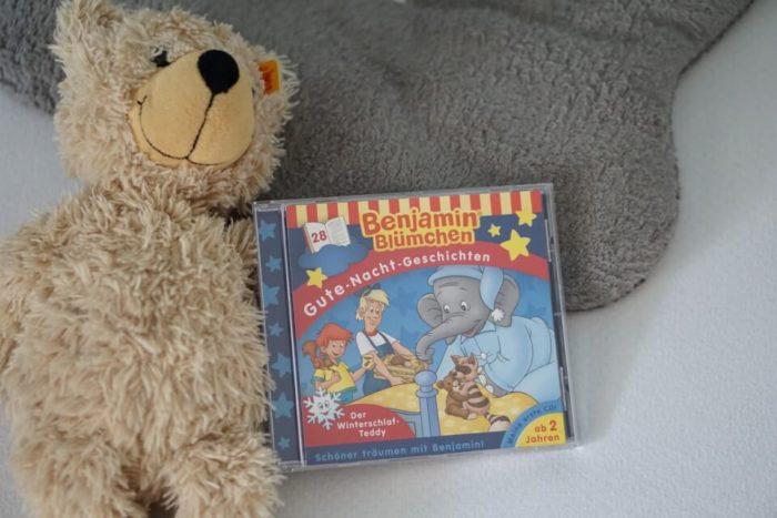 Teddy und CD zum Einschlafen - Schlafrituale am Abend für Baby und Kleinkind mit Benjamin Blümchen Hörspiel CD
