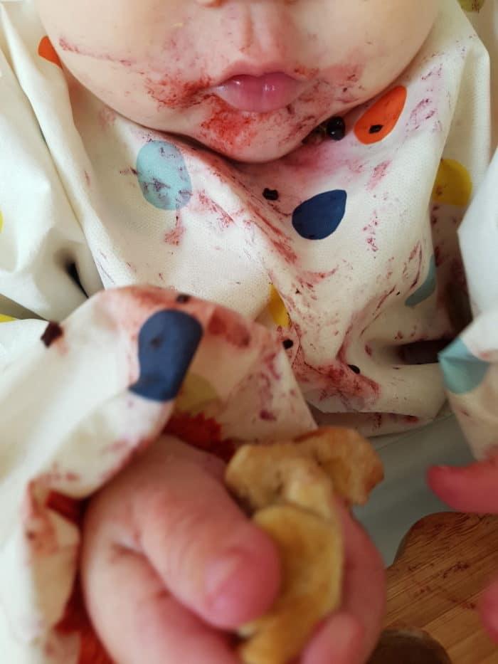 Baby isst selber am Familientishc- eine Beikosteinführung ohne Brei