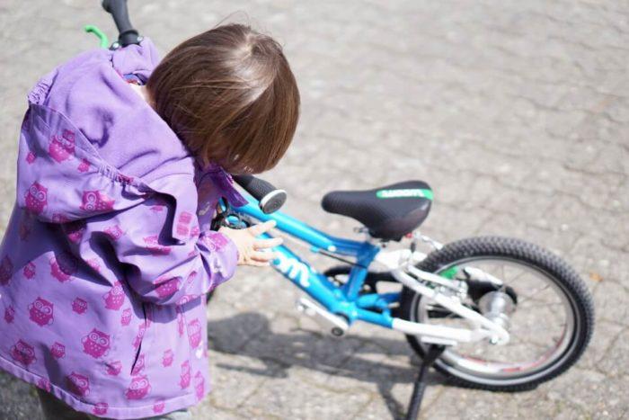 Am blauebn Fahrrad wird die Hupe montiert - Lieselotte die Kuh am kleinen Fahrrad