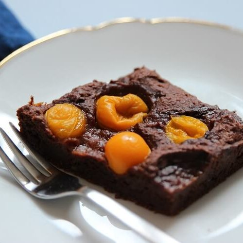 Schokoladenbrwonie mit Physalis und Zartbitterschokolade von VIVANI gegen Mama Blues