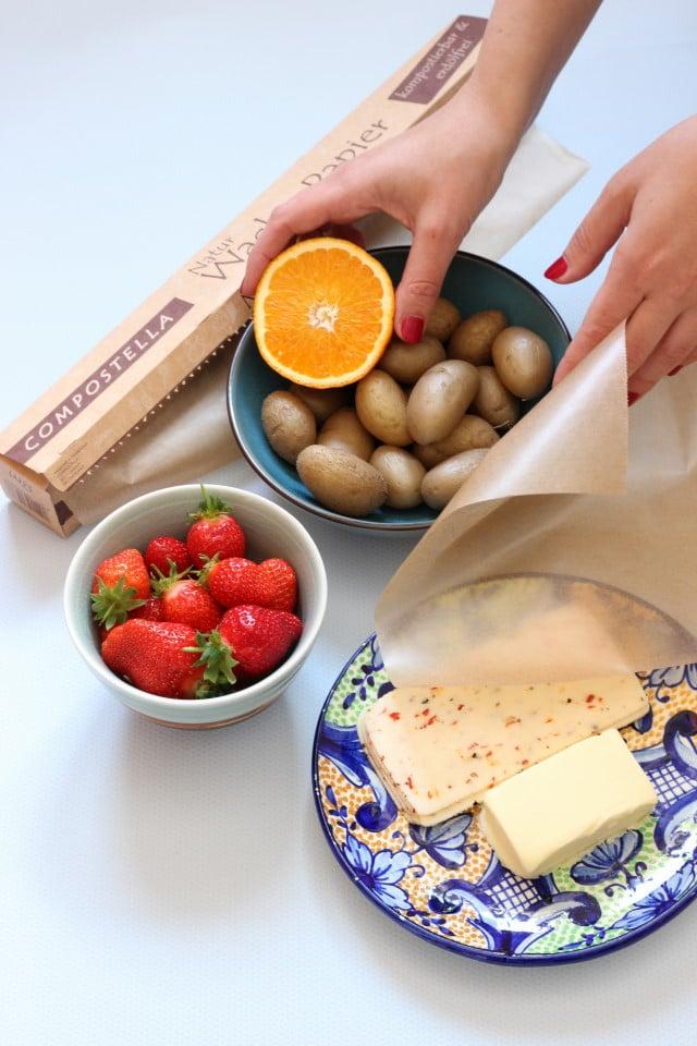 Essen einpacken ohne Alufolie und Frischhaltefolie mit den Produkten von Compostella - komposiertbare Folie und Papier. Less und zero waste im plastikfreien Alltag