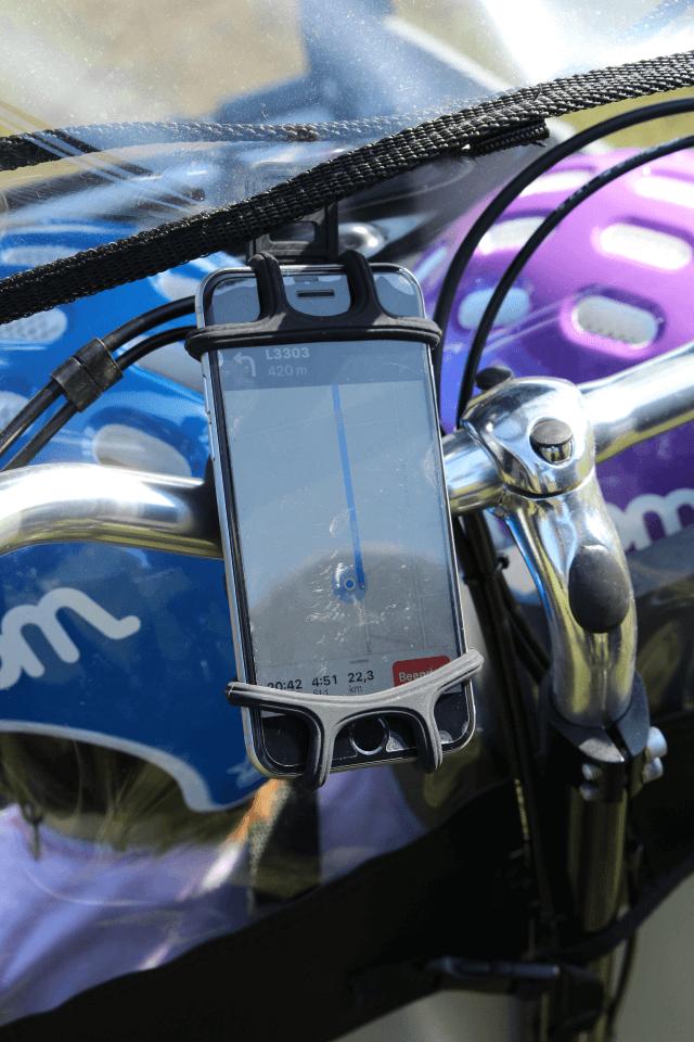 Handyhalterung zur Navigation am Lastenfahrrad