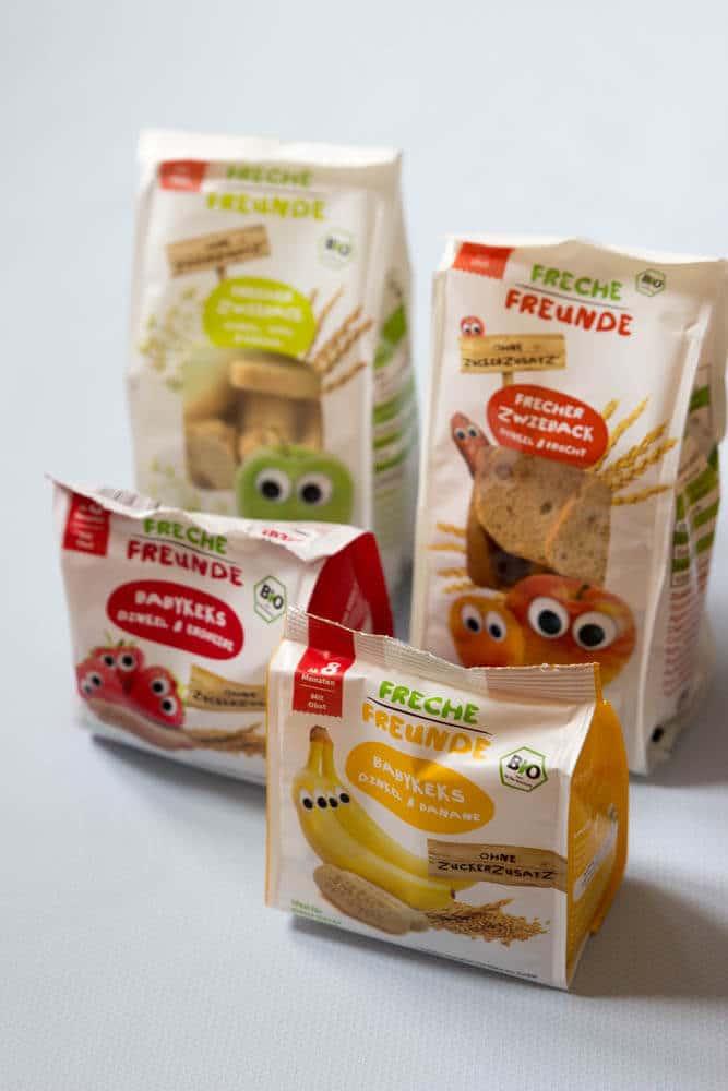 Freche Freunde Snacks für Babys und Kleinkinder - Obst und Gemüse für unterwegs. Für BLW und breifrei Babys und Kleinkinder