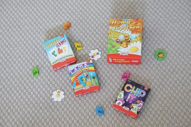Gewinnspiel: Dein Paket mit Spielen von Amigo Spiele - Kartenspiele für Kinder und die ganze Familie: Lama, Chip it, Honigtöpfchen und Biber Gang