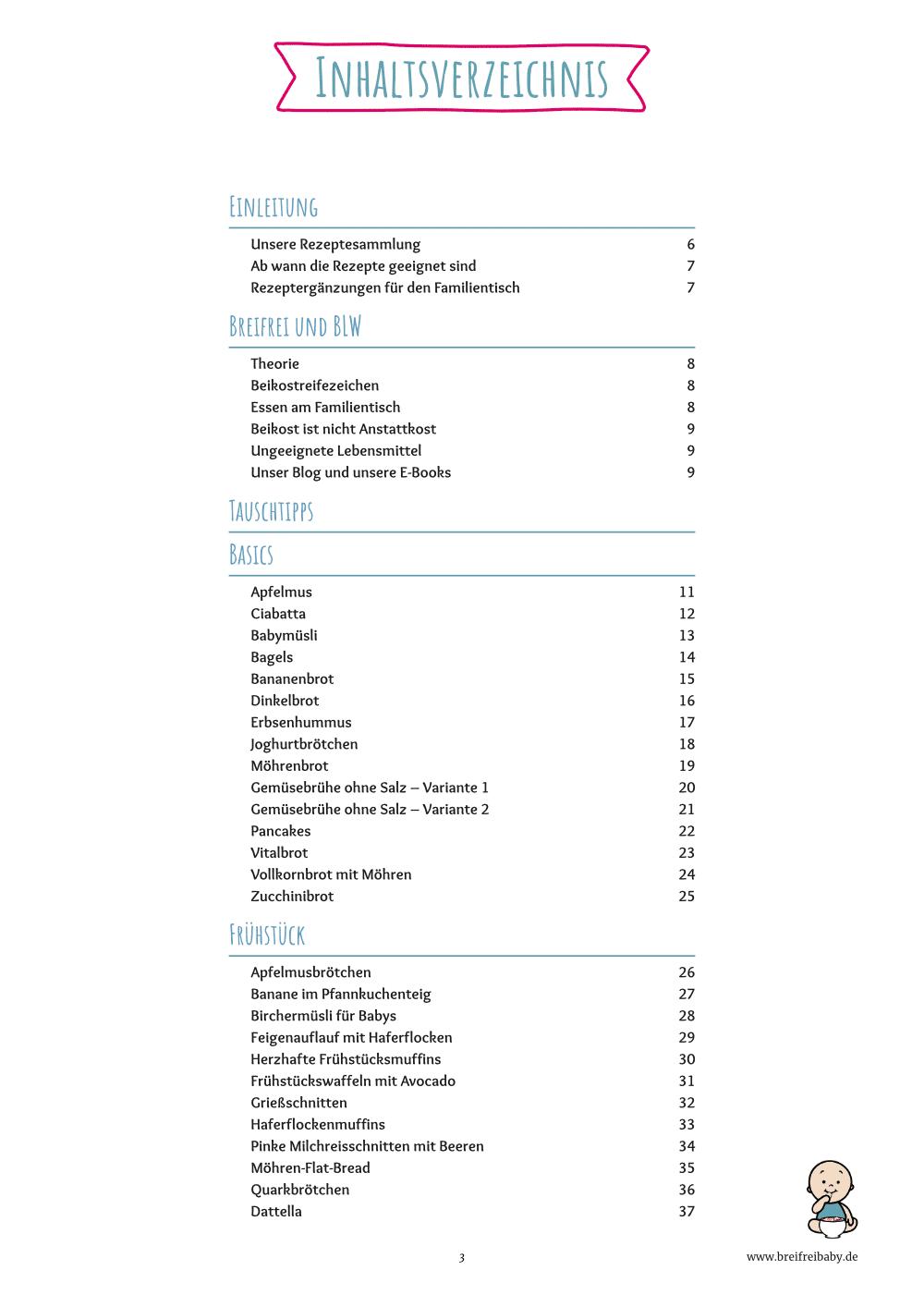 Das Breifrei Kochbuch 100 Rezepte Inhaltsverzeichnis