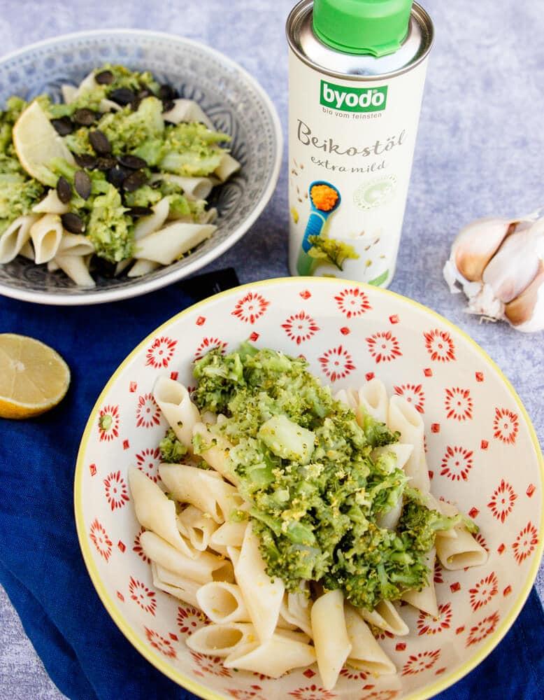 Nudeln mit Pesto und Beikostöl - gut für die Verdauung