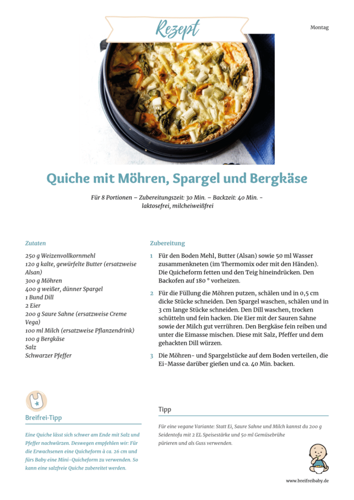 Rezept für Quiche mit Spargel, Möhren und Bergkäse mit veganer Variante