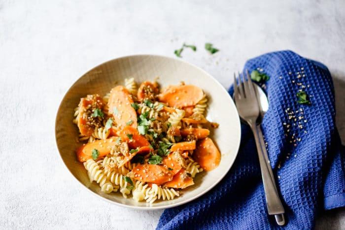 Wochenpöan erstellen - Möhren Pasta mit Aprikosen als Rezept für die ganze Familie