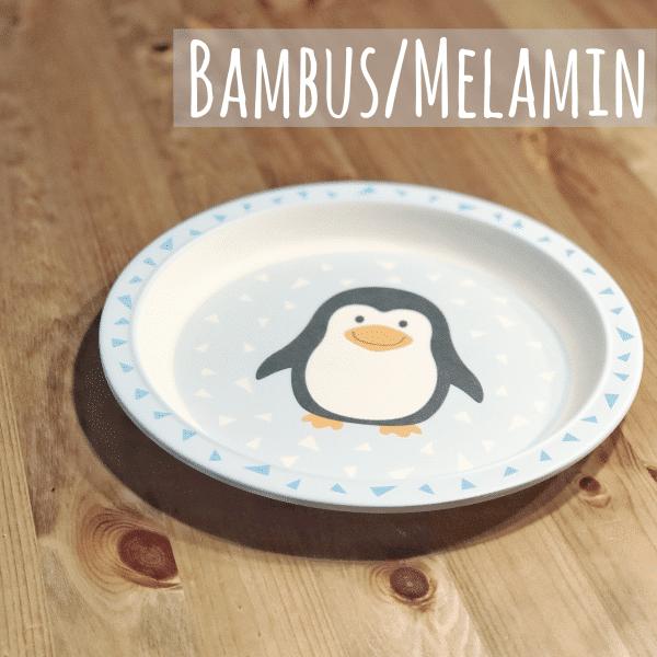 Teller aus Bambus und Melamin für Babys und Kinder mit Pinguin