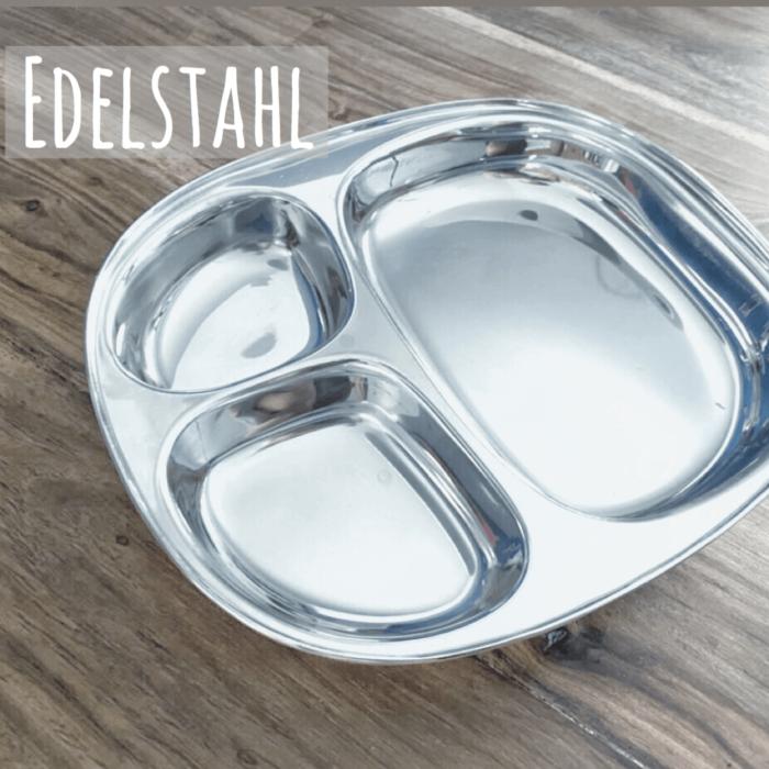 Teller für Kinder aus Edelstahl - Babyteller mit drei Fächern