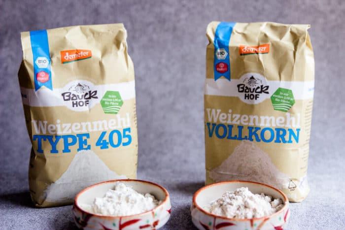 Weizenmehl Type 405 und Weizenvollkonmehl - was bedeuten die unterschiedlichen Zahlen auf der Mehlverpackung?