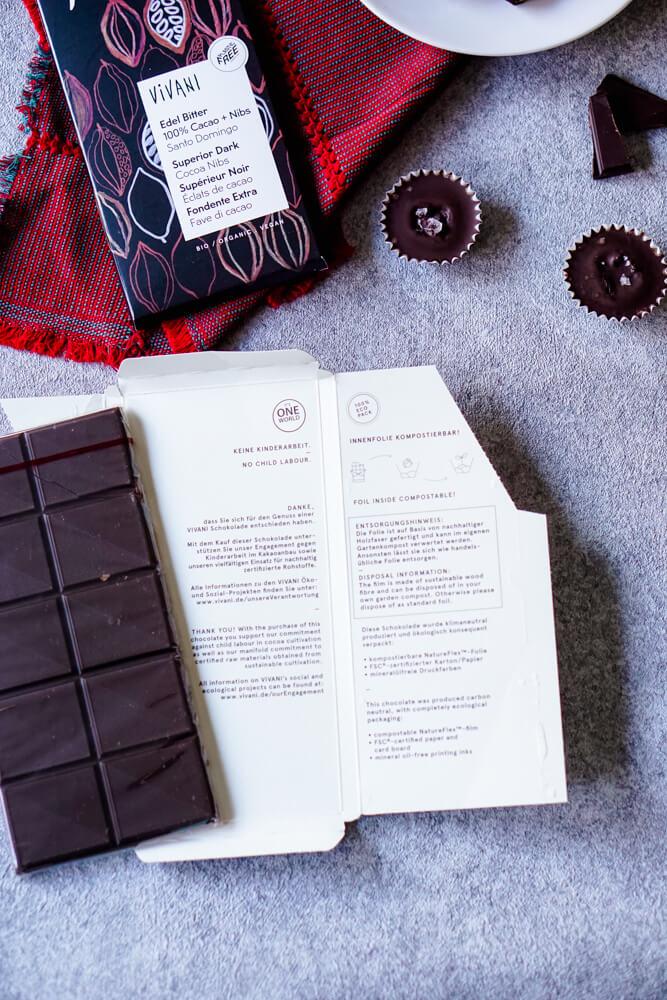 plastikfreie verpackung der zuckerfreien Schokolade von Vivani - Plätzchen backen ohne Zucker